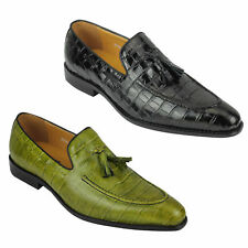 Mens Crocodile Print Shiny Real Leather Tassel Loafers Shoes Vintage Green Black