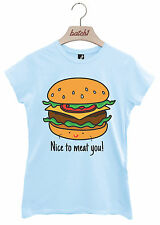 BATCH1 NICE TO MEAT YOU FAST FOOD RESTAURANT NOVELTY SLOGAN WOMENS T-SHIRT