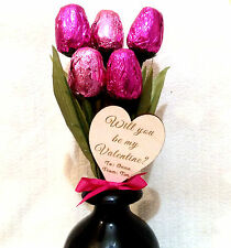 Chocolate Tulips Flowers and Wooden Personalised Heart Valentines Day Gift Love