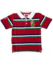 British and Irish Lions Rugby Kids' Striped Polo Shirt | 2017 Tour | Red