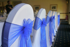 ✫Royal Blue Organza Chair Sash Bow Runners✫Packs 50✔100✔150✔200✔✫London Seller