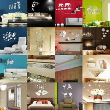 Removable 3D Mirror Surface Wall Sticker Decals Art Mural Home Interior Decor