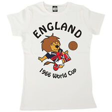 WORLD CUP WILLY WOMENS ENGLAND FOOTBALL MASCOT 1966 RETRO PRINT T-SHIRT