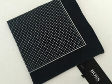 HUGO BOSS NAVY BLUE SPOT PRINT COTTON POCKET SQUARE BNWT MADE IN ITALY
