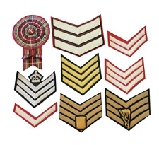 Chevrons Cotton Stripes Plane & Hand Embroidered Badges Crown,Drum,bagpipe