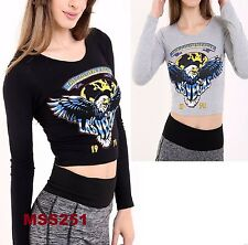LADIES NEW LONG SLEEVE PRINTED GOLDEN EAGLE 1978 SEXY CROP TOP VEST SIZE UK 8-14