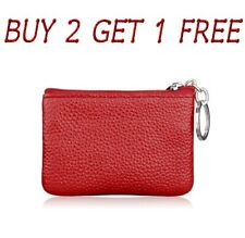 Men Women Card Coin Key Holder Zip Genuine Leather Wallet Pouch Bag Purse colrCn