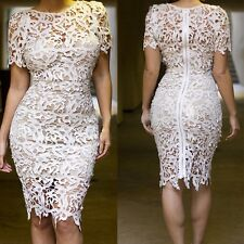 Cream White Hollow-out Lace Midi Party Dress