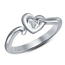 Solitaire Heart Ring In Round Cut White CZ 925 Sterling Silver White Gold Finish