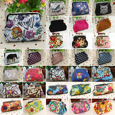 Retro Women Mini Pouch Wallet Key Coin Holder Purse Floral Clasp Clutch Handbag