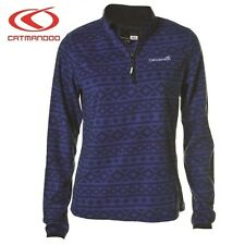 Catmandoo Women's Micro Fleece Mid Layer Top - Lightweight Navy Zip Neck Jumper