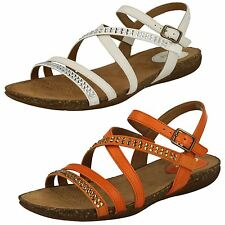Ladies Clarks Autumn Peace Orange Or White Leather Strappy Sandals D Fitting