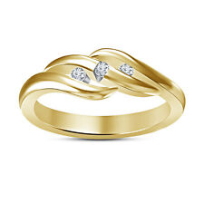 14K Gold Plated 925 Silver Three Stone Wedding Band Ring RD White Cubic Zirconia