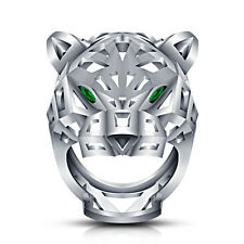 Men's Ring 14k White Gold Plated 925 Sterling Silver Green Sapphire Panther Ring