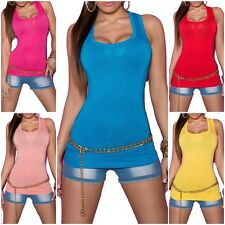 Sexy Tops Top Tanktop T-Shirt Damen Unifarben Gr. 36-38 5 Farben