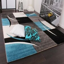 Large Living Room Rug Modern Turquoise Grey Black Carpet Hall Runner Bedroom Mat