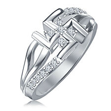 Glamorous Swastik Ring For Women's & Men's Over New Platinum 925 Silver RD CZ