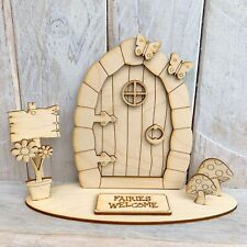 Plywood Wood Fairy Door Craft Shape Decorate Your Own FAIRY ELF PIRATE STAND KS