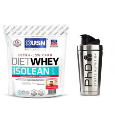 USN Diet Whey Isolean  Protein Isolate Lean Muscle + PHD Stainless Shaker
