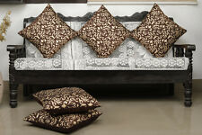 Dekor World Damask Printed Brown Cushion Cover (Pack of 5)