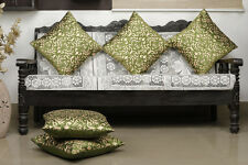 Dekor World Damask Printed Green Cushion Cover (Pack of 5)