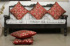Dekor World Damask Printed Maroon Cushion Cover (Pack of 5)