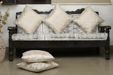 Dekor World Damask Printed Cream Cushion Cover (Pack of 5)