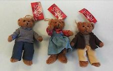 3 Russ Berrie & Co. Teddy Bear Family Bears From The Past Collection Rare