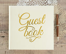 Personalised Wedding Guest Book & Box. Ivory Guest Book with Gold Printed Text