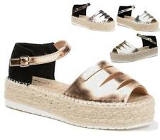 WOMENS LADIES METALLIC CUT OUT ESPADRILLE FLAT SOLE WEDGE SANDALS ANKLE SHOES