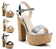 LADIES METALLIC HIGH HEEL CORK PLATFORM ANKLE STRAP PEEP TOE SHOES SANDALS SIZE