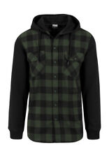 Urban Classics Hooded Checked Flanell Sweat Sleeve Shirt TB513 Black Forest Blac