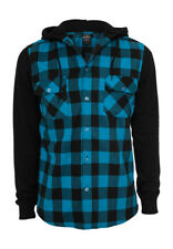 Urban Classics Hooded Checked Flanell Sweat Sleeve Shirt TB513 Black Turquoise B
