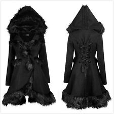Punk-Rave LY-056 Womens Black Gothic Lolita Sweet Faux Fur Hoodie Winter Coat