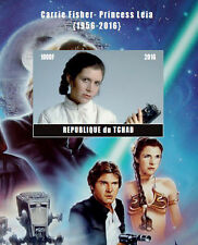 Star Wars PRINCESS LEIA Carrie Fisher 2016 Stamp perf imperf souvenir sheet MNH