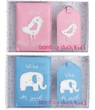 Bombay Duck Baby 1st Passport Cover Luggage Tag GIFT Blue Pink Jet Setter Child