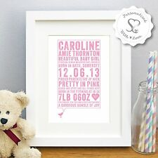 Personalised New Baby Birth Boy Girl Bird Print/Framed Picture Christening Gift