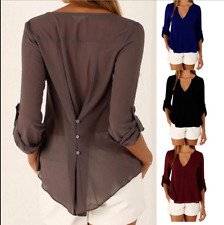 From UK Womens Summer Chiffon Casual Long Sleeve Tee T Shirts Blouse Tops