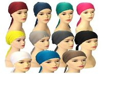 Under Scarf Bonnet Womens Girls Tie Back Chemo Cap Under Hijab Head Scarf Plain