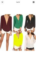 Casual Womens Blouse Chiffon Long Sleeve Ladies Top Loose T shirt V neck Tops UK