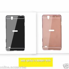 Aluminum Metal Bumper with Mirror Back Cover Case For SONY XPERIA C4 & C4 DUAL