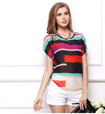 UK Hot Womens Summer Casual Loose Chiffon Blouse Short Sleeve Shirt Tops T-shirt