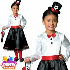 Girls Victorian Nanny Costume Childs Mary Fancy Dress Kids Book Week Day Outfit