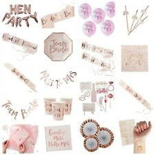 Team Bride, Hen Party, Bride to Be, Pink & Rose Gold Party Props & Accessories