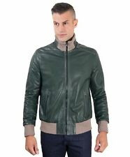 Giacca in pelle uomo BOMBER - Giacca in pelle verde effetto vintage lana a contr