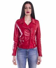 Giacca in pelle donna BARBARA • colore rosso • giacca biker in pelle nappa effet