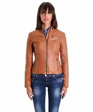 Giacca in pelle donna M890 • colore cuoio • giacca biker in pelle trapuntata bog