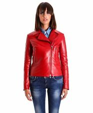 Giacca in pelle donna ILARIA • colore rosso • giacca chiodo in pelle nappa effet