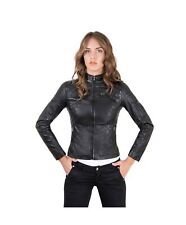 Giacca in pelle donna GENY • colore nero • giacca biker in pelle trapuntata napp