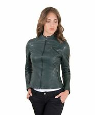 Giacca in pelle donna GENY • colore verde • giacca biker in pelle trapuntata bog